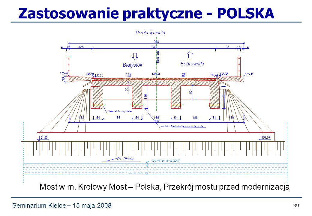 Seminarium Kielce – 15 maja 2008 39 Zastosowanie praktyczne - POLSKA Krolowy Most bridge – Poland Widening with application of UHPFRC foreseen for spring 2008 4 990 54 990 80 Most w m.