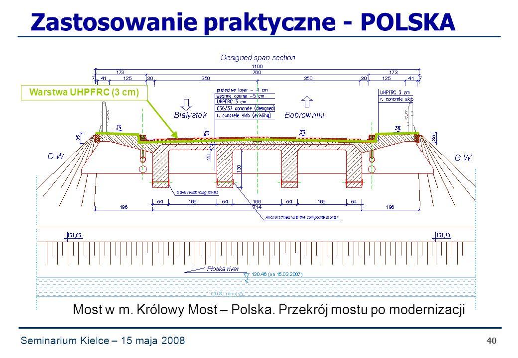 Seminarium Kielce – 15 maja 2008 40 Zastosowanie praktyczne - POLSKA Most w m.