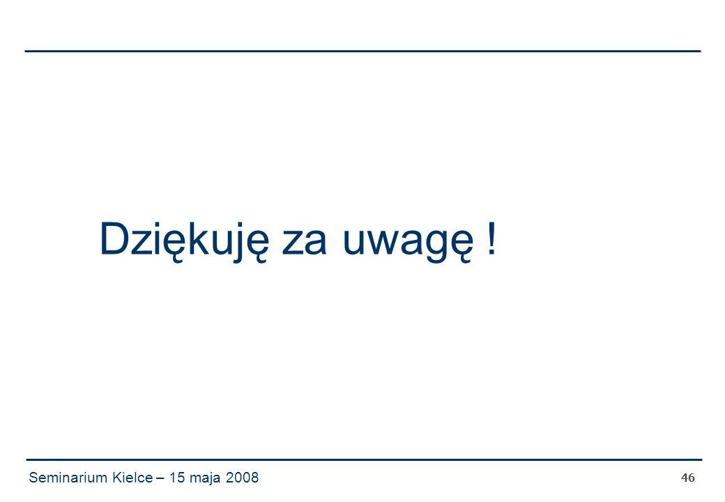 Seminarium Kielce – 15 maja 2008 46 Dziękuję za uwagę !