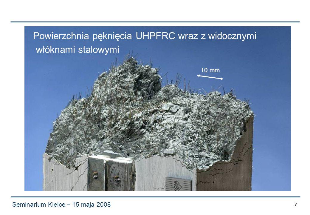 Seminarium Kielce – 15 maja 2008 7 Powierzchnia pęknięcia UHPFRC wraz z widocznymi włóknami stalowymi 10 mm