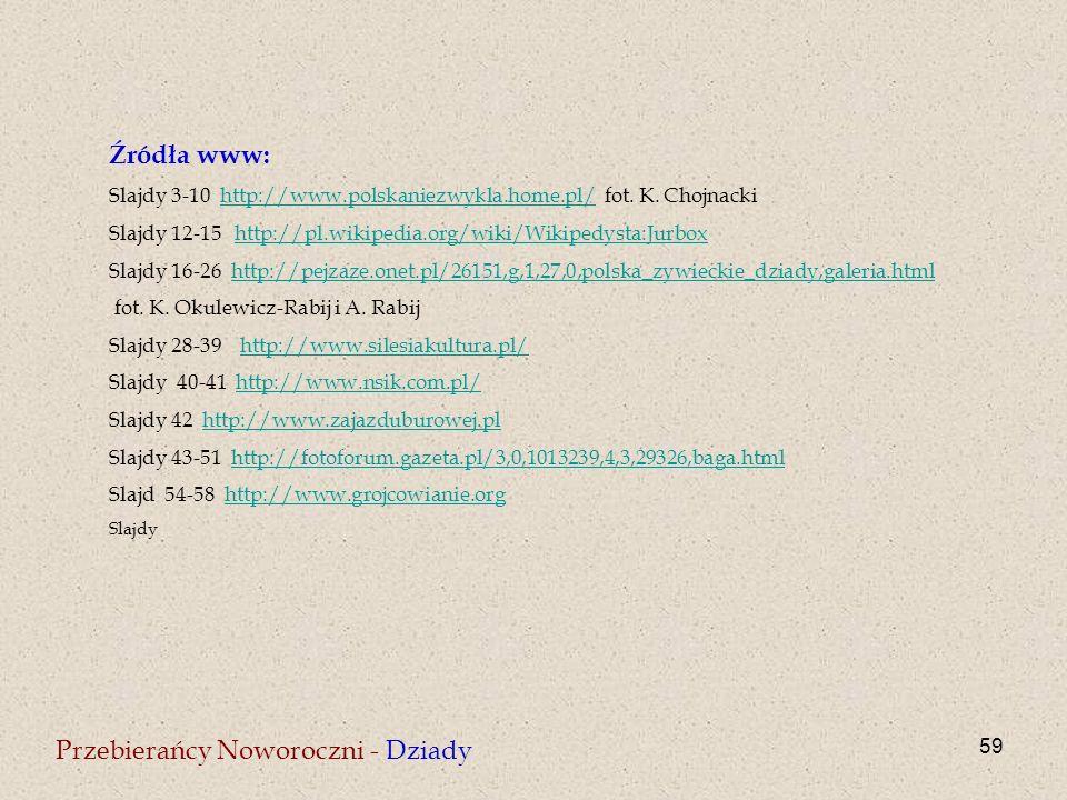 59 Przebierańcy Noworoczni - Dziady Źródła www: Slajdy 3-10 http://www.polskaniezwykla.home.pl/ fot. K. Chojnackihttp://www.polskaniezwykla.home.pl/ S