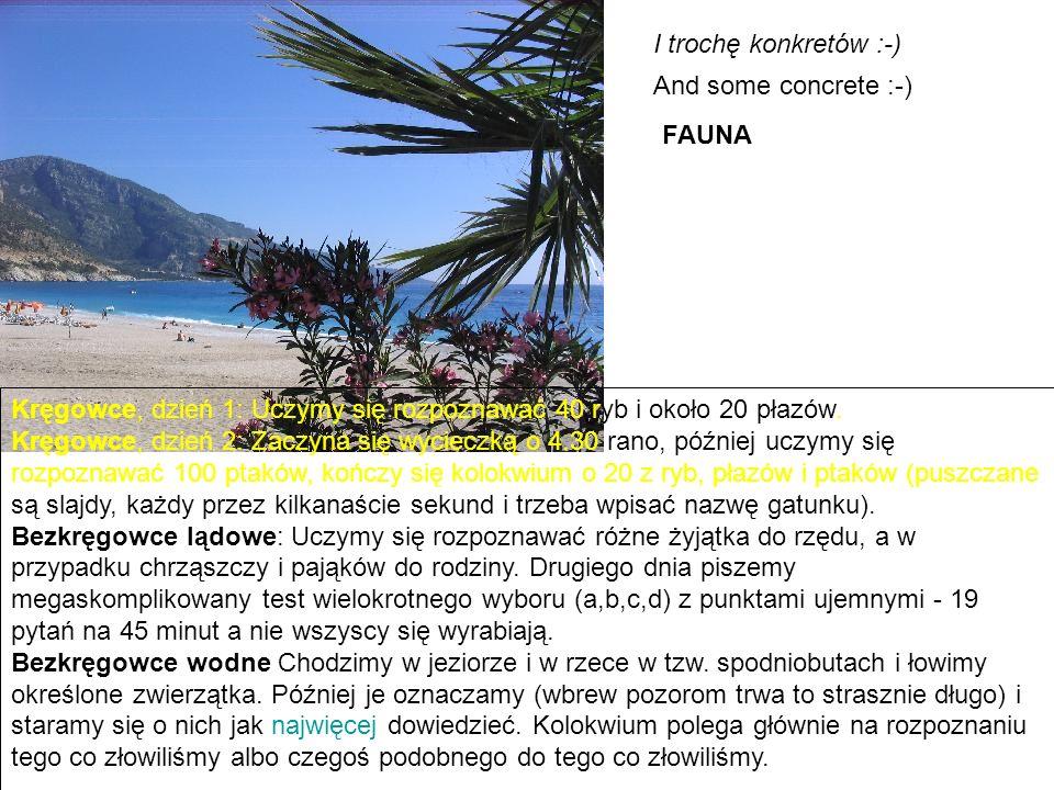 I trochę konkretów :-) And some concrete :-) FAUNA Kręgowce, dzień 1: Uczymy się rozpoznawać 40 ryb i około 20 płazów.