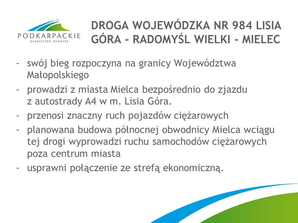 DROGA WOJEWÓDZKA NR 984 LISIA GÓRA - RADOMYŚL WIELKI - MIELEC -swój bieg rozpoczyna na granicy Województwa Małopolskiego -prowadzi z miasta Mielca bezpośrednio do zjazdu z autostrady A4 w m.