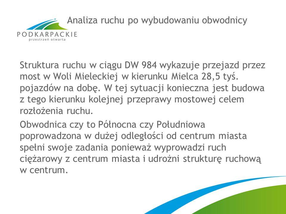 Struktura ruchu w ciągu DW 984 wykazuje przejazd przez most w Woli Mieleckiej w kierunku Mielca 28,5 tyś.