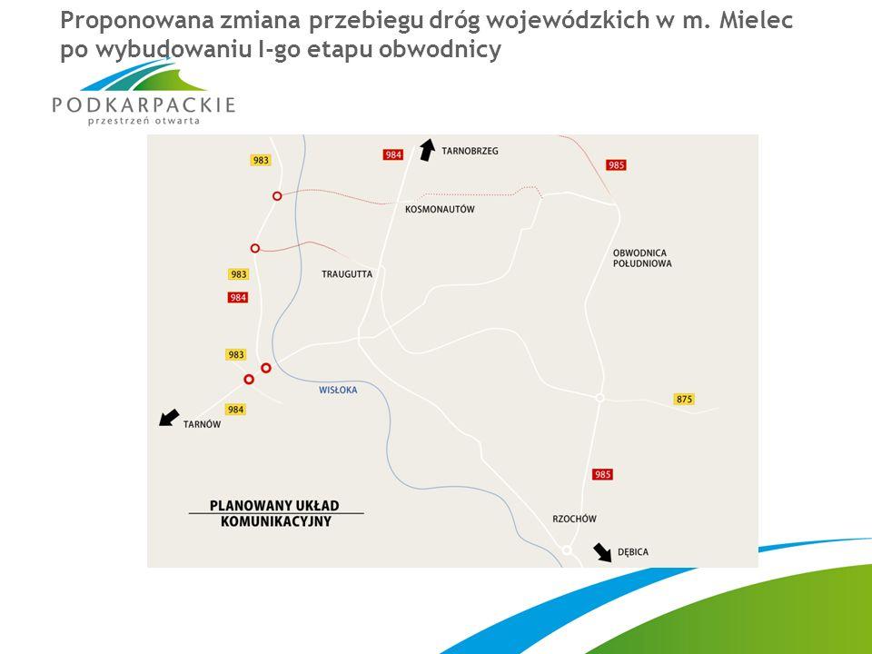Proponowana zmiana przebiegu dróg wojewódzkich w m. Mielec po wybudowaniu I-go etapu obwodnicy