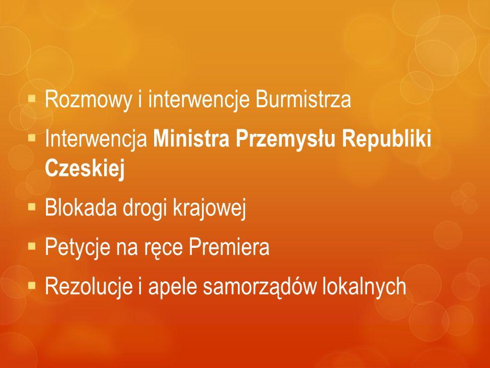  Rozmowy i interwencje Burmistrza  Interwencja Ministra Przemysłu Republiki Czeskiej  Blokada drogi krajowej  Petycje na ręce Premiera  Rezolucje