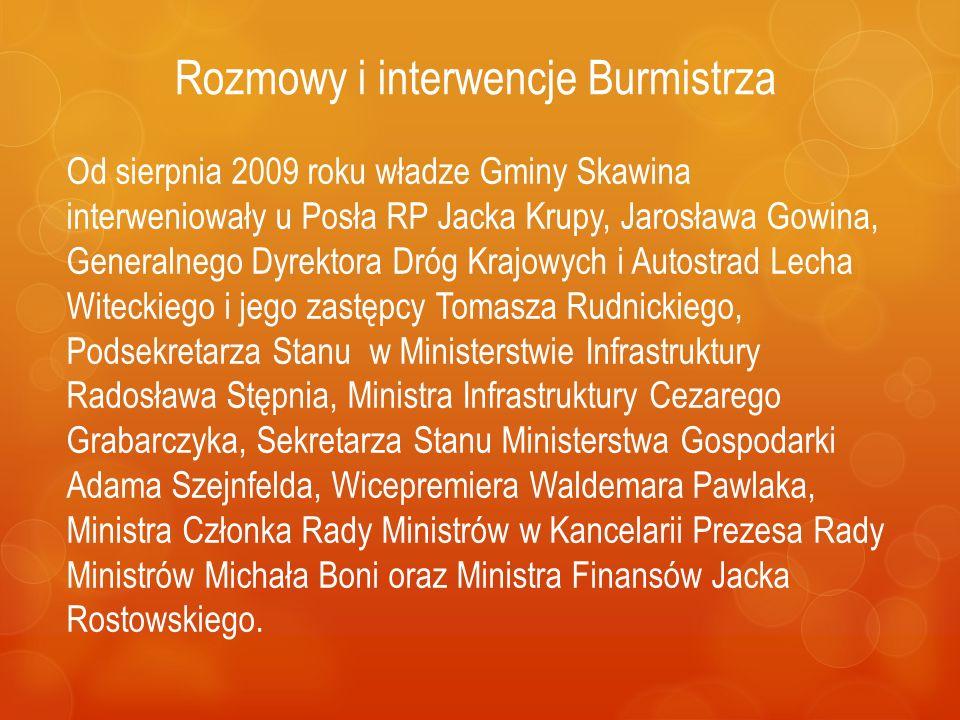 Rozmowy i interwencje Burmistrza Od sierpnia 2009 roku władze Gminy Skawina interweniowały u Posła RP Jacka Krupy, Jarosława Gowina, Generalnego Dyrek