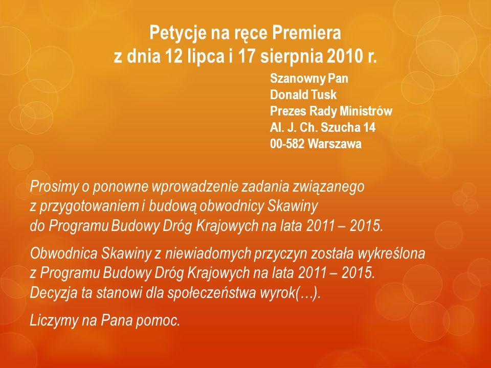 Petycje na ręce Premiera z dnia 12 lipca i 17 sierpnia 2010 r.