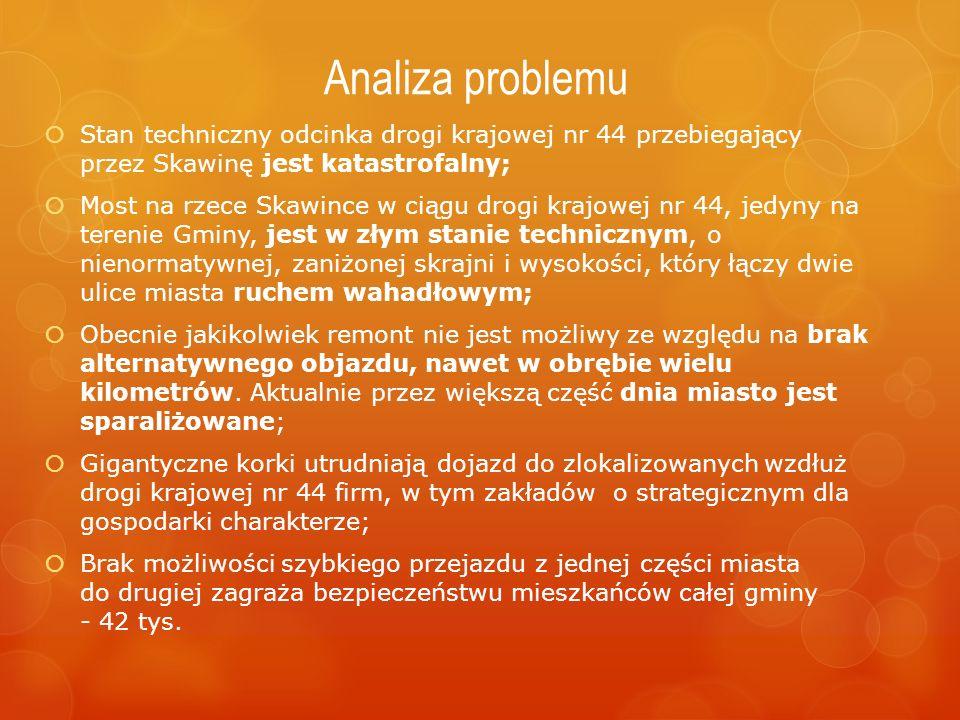 Analiza problemu  Stan techniczny odcinka drogi krajowej nr 44 przebiegający przez Skawinę jest katastrofalny;  Most na rzece Skawince w ciągu drogi