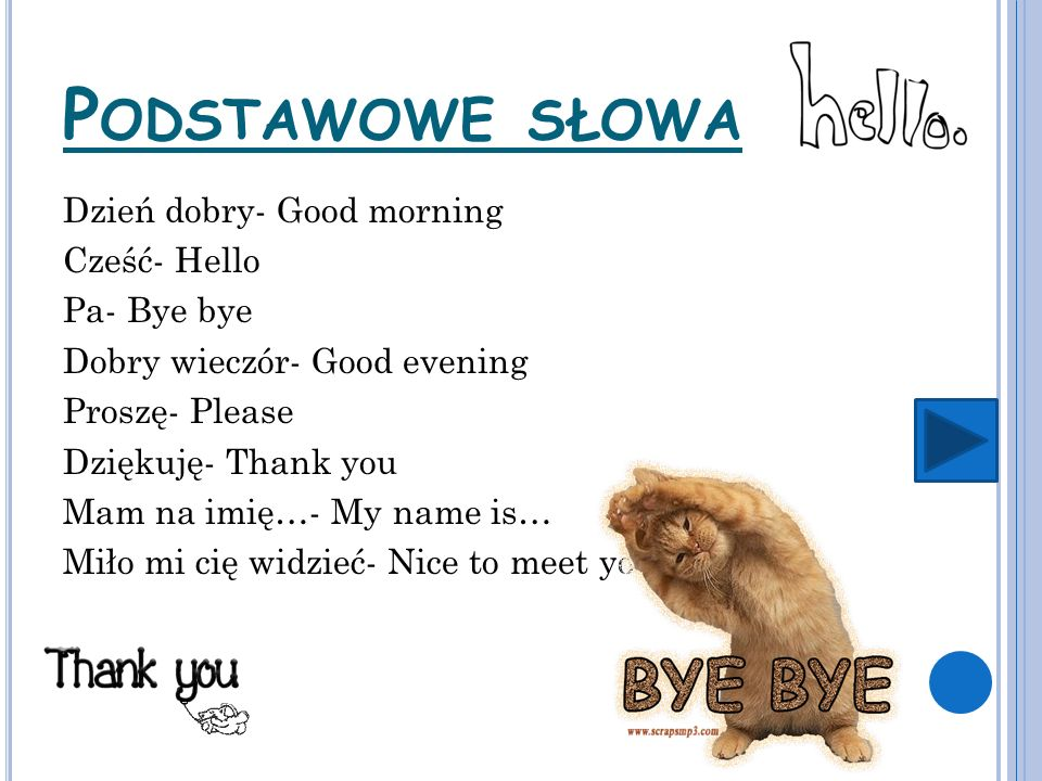 P ODSTAWOWE SŁOWA Dzień dobry- Good morning Cześć- Hello Pa- Bye bye Dobry wieczór- Good evening Proszę- Please Dziękuję- Thank you Mam na imię…- My name is… Miło mi cię widzieć- Nice to meet you