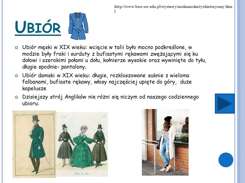 U BIÓR Ubiór męski w XIX wieku: wcięcie w talii było mocno podkreślone, w modzie były fraki i surduty z bufiastymi rękawami zwężającymi się ku dołowi i szerokimi połami u dołu, kołnierze wysokie oraz wywinięte do tyłu, długie spodnie- pantalony.