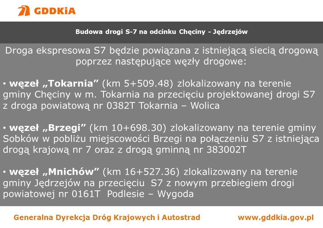 """Generalna Dyrekcja Dróg Krajowych i Autostradwww.gddkia.gov.pl Droga ekspresowa S7 będzie powiązana z istniejącą siecią drogową poprzez następujące węzły drogowe: węzeł """"Tokarnia (km 5+509.48) zlokalizowany na terenie gminy Chęciny w m."""