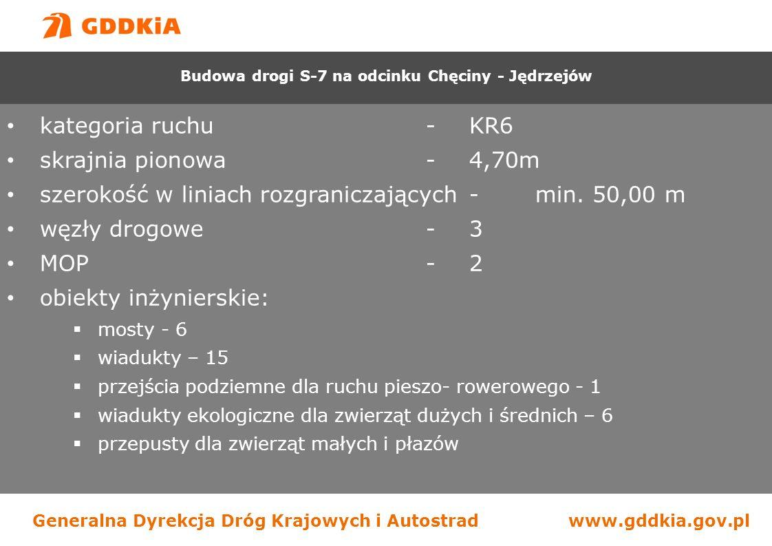 Generalna Dyrekcja Dróg Krajowych i Autostradwww.gddkia.gov.pl kategoria ruchu-KR6 skrajnia pionowa-4,70m szerokość w liniach rozgraniczających-min.