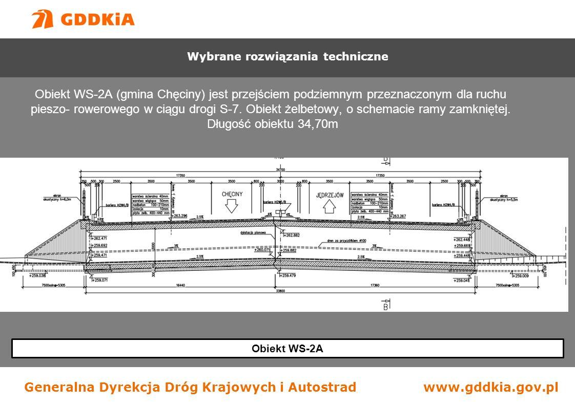 Generalna Dyrekcja Dróg Krajowych i Autostradwww.gddkia.gov.pl Obiekt WS-2A Obiekt WS-2A (gmina Chęciny) jest przejściem podziemnym przeznaczonym dla ruchu pieszo- rowerowego w ciągu drogi S-7.