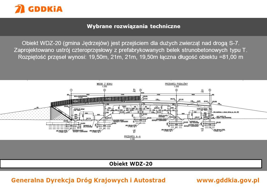 Generalna Dyrekcja Dróg Krajowych i Autostradwww.gddkia.gov.pl Obiekt WDZ-20 Obiekt WDZ-20 (gmina Jędrzejów) jest przejściem dla dużych zwierząt nad drogą S-7.
