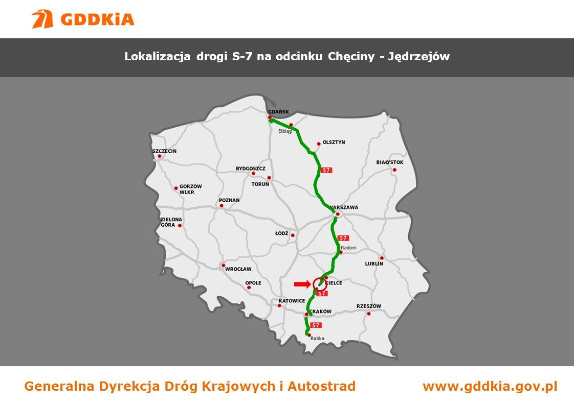 Generalna Dyrekcja Dróg Krajowych i Autostradwww.gddkia.gov.pl Budowa drogi S-7 na odcinku Chęciny - Jędrzejów Lokalizacja drogi S-7 na odcinku Chęciny - Jędrzejów