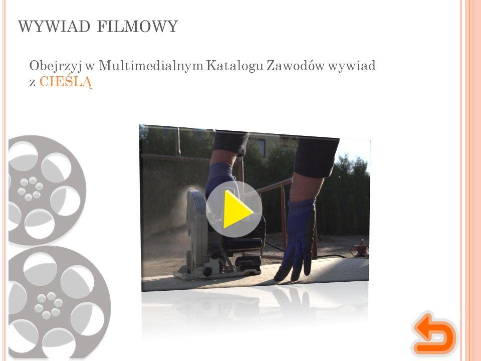 WYWIAD FILMOWY Obejrzyj w Multimedialnym Katalogu Zawodów wywiad z CIEŚLĄ