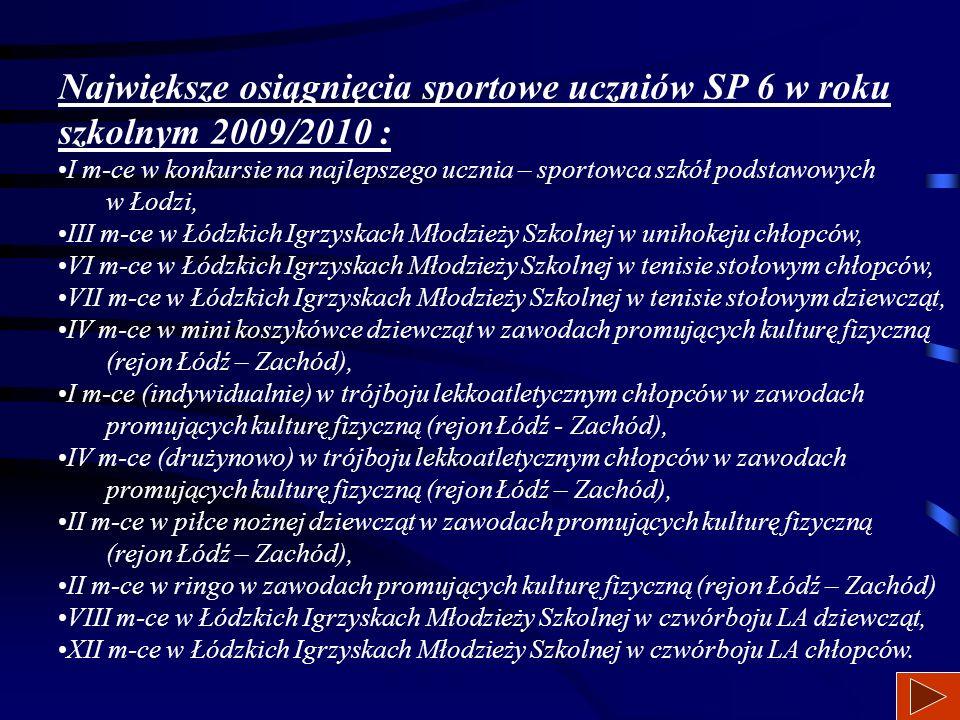 W naszej szkole w roku szkolnym 2008/2009 odbyło się wiele imprez sportowych. Co roku odbywają się Szkolne Igrzyska Olimpijskie w kilkunastu dyscyplin