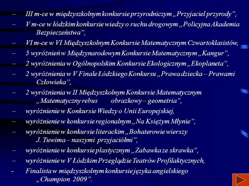 Największe osiągnięcia uczniów SP 6 w r. szk. 2008/2009:  I m-ce i wyróżnienie w międzyszkolnym konkursie informatycznym na prezentację multimedialną