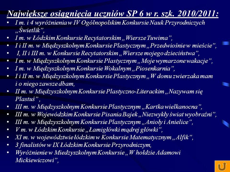 """Największe osiągnięcia uczniów SP 6 w r. szk. 2009/2010: II m-ce w konkursie plastycznym """"Podarunek dla mamy"""", II m-ce w konkursie plastycznym """"Wiatr,"""