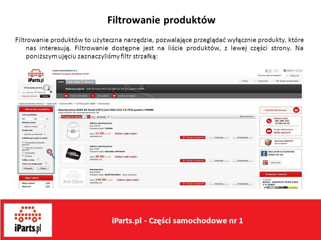 Filtrowanie produktów Filtrowanie produktów to użyteczna narzędzie, pozwalające przeglądać wyłącznie produkty, które nas interesują.