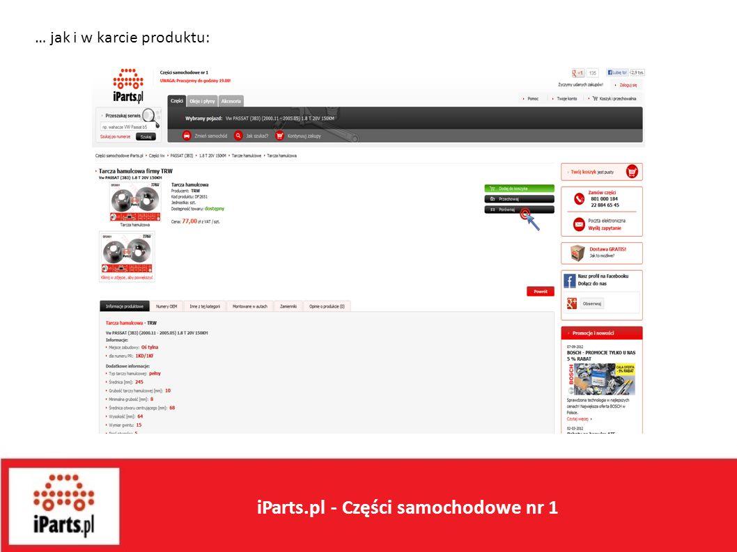 … jak i w karcie produktu: iParts.pl - Części samochodowe nr 1