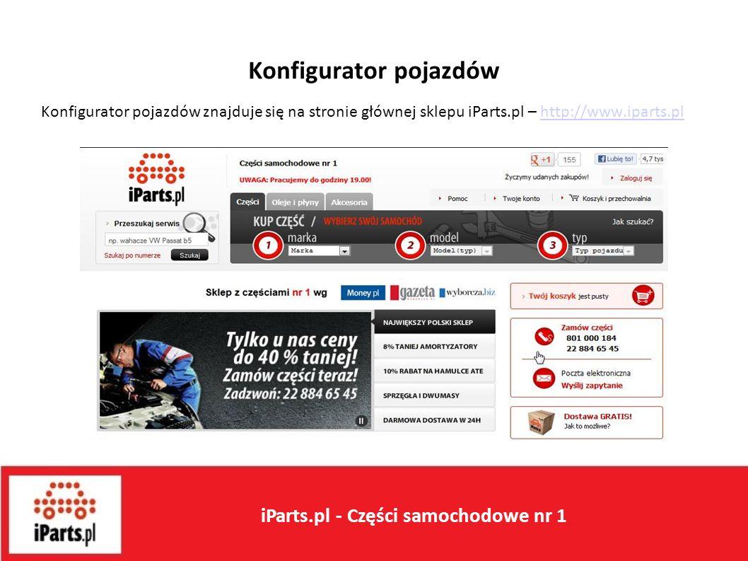 Konfigurator pojazdów Konfigurator pojazdów znajduje się na stronie głównej sklepu iParts.pl – http://www.iparts.plhttp://www.iparts.pl iParts.pl - Części samochodowe nr 1