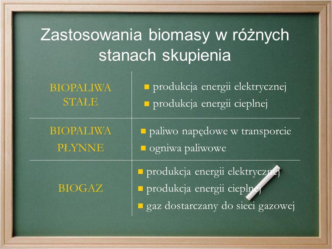 Zastosowania biomasy w różnych stanach skupienia produkcja energii elektrycznej produkcja energii cieplnej gaz dostarczany do sieci gazowej BIOGAZ paliwo napędowe w transporcie ogniwa paliwowe BIOPALIWA PŁYNNE produkcja energii elektrycznej produkcja energii cieplnej BIOPALIWA STAŁE