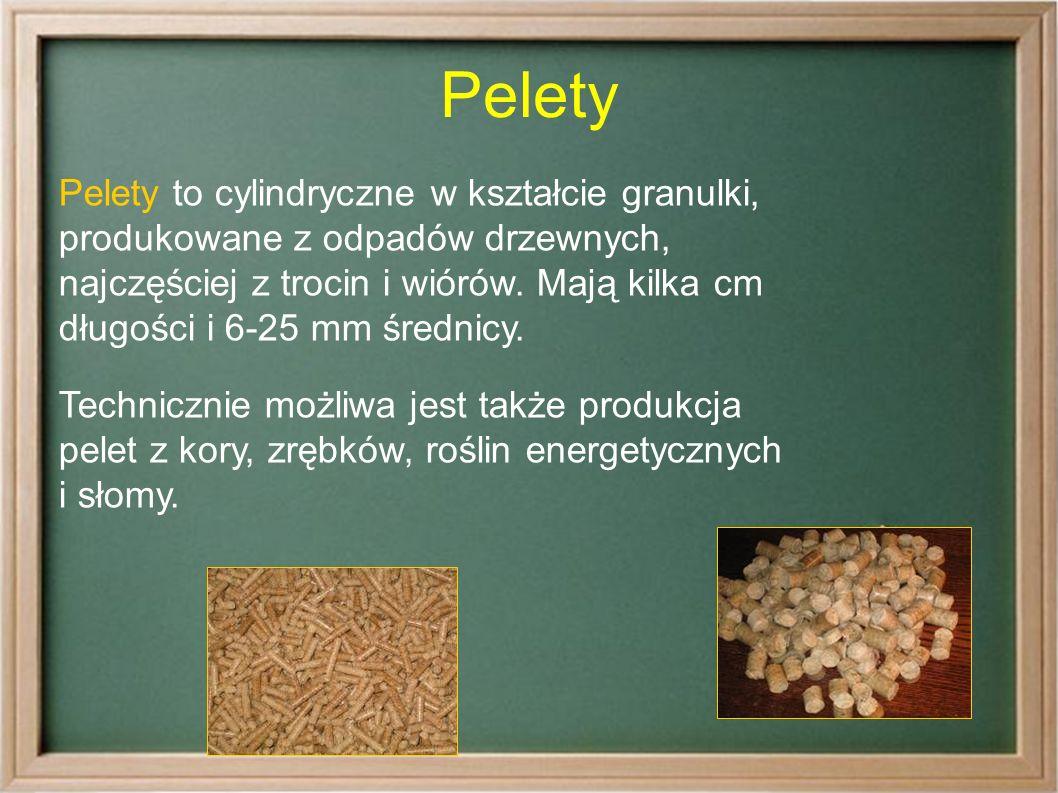 Pelety Pelety to cylindryczne w kształcie granulki, produkowane z odpadów drzewnych, najczęściej z trocin i wiórów.
