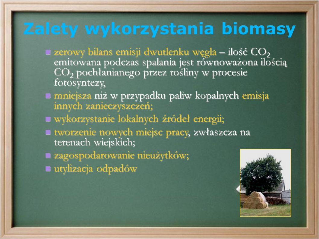 Zalety wykorzystania biomasy zerowy bilans emisji dwutlenku węgla – ilość CO 2 emitowana podczas spalania jest równoważona ilością CO 2 pochłanianego przez rośliny w procesie fotosyntezy, zerowy bilans emisji dwutlenku węgla – ilość CO 2 emitowana podczas spalania jest równoważona ilością CO 2 pochłanianego przez rośliny w procesie fotosyntezy, mniejsza niż w przypadku paliw kopalnych emisja innych zanieczyszczeń; mniejsza niż w przypadku paliw kopalnych emisja innych zanieczyszczeń; wykorzystanie lokalnych źródeł energii; wykorzystanie lokalnych źródeł energii; tworzenie nowych miejsc pracy, zwłaszcza na terenach wiejskich; tworzenie nowych miejsc pracy, zwłaszcza na terenach wiejskich; zagospodarowanie nieużytków; zagospodarowanie nieużytków; utylizacja odpadów utylizacja odpadów