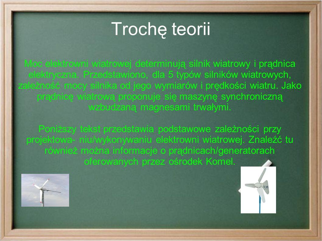 Trochę teorii Moc elektrowni wiatrowej determinują silnik wiatrowy i prądnica elektryczna.