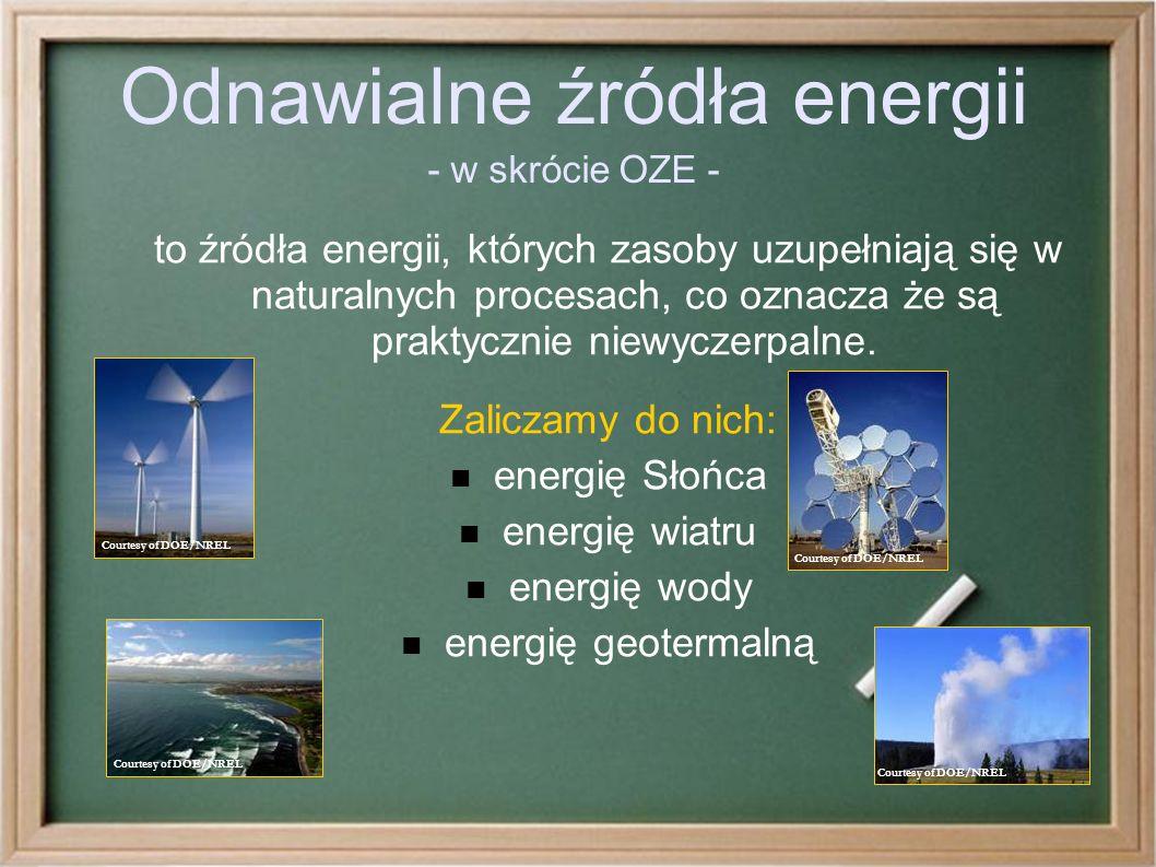 Odnawialne źródła energii - w skrócie OZE - to źródła energii, których zasoby uzupełniają się w naturalnych procesach, co oznacza że są praktycznie niewyczerpalne.
