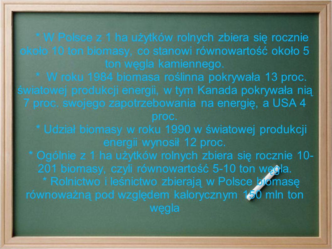 * W Polsce z 1 ha użytków rolnych zbiera się rocznie około 10 ton biomasy, co stanowi równowartość około 5 ton węgla kamiennego.