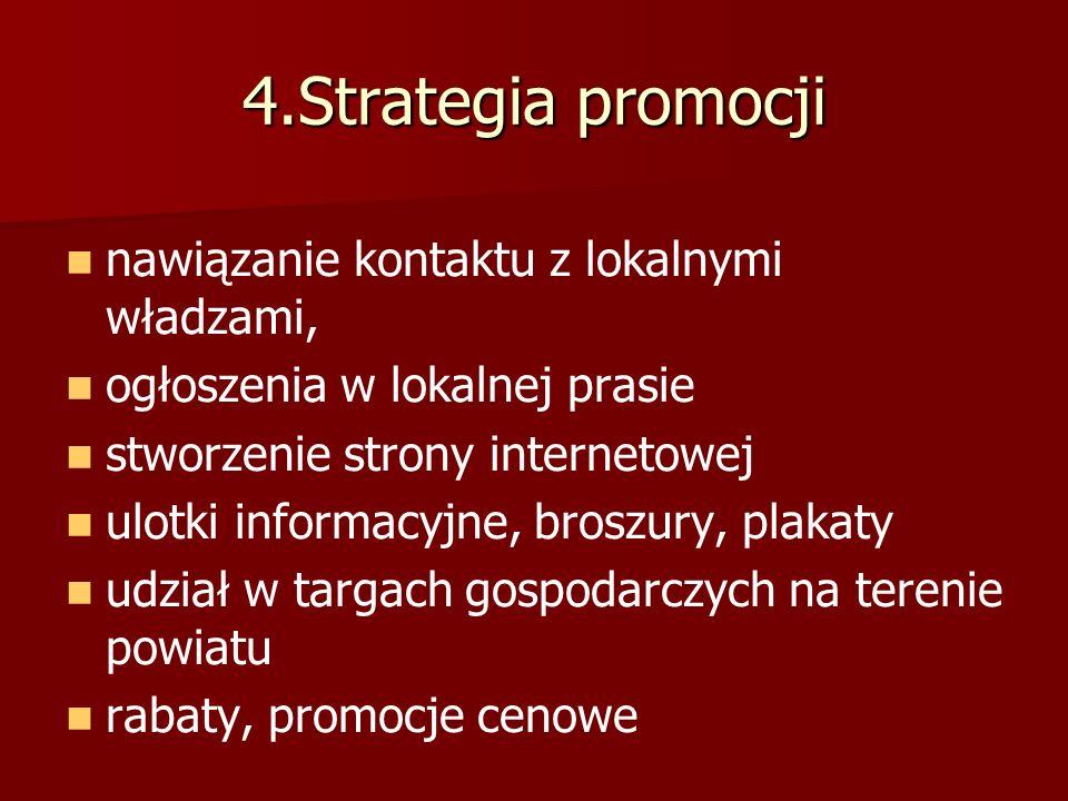 4.Strategia promocji nawiązanie kontaktu z lokalnymi władzami, ogłoszenia w lokalnej prasie stworzenie strony internetowej ulotki informacyjne, broszury, plakaty udział w targach gospodarczych na terenie powiatu rabaty, promocje cenowe