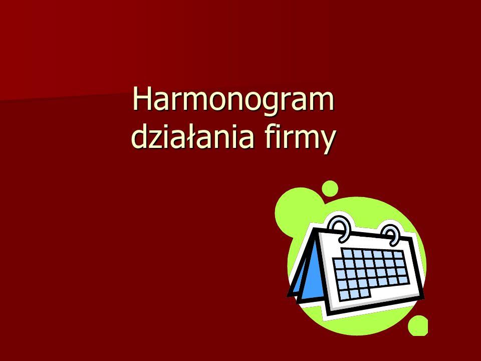 Harmonogram działania firmy