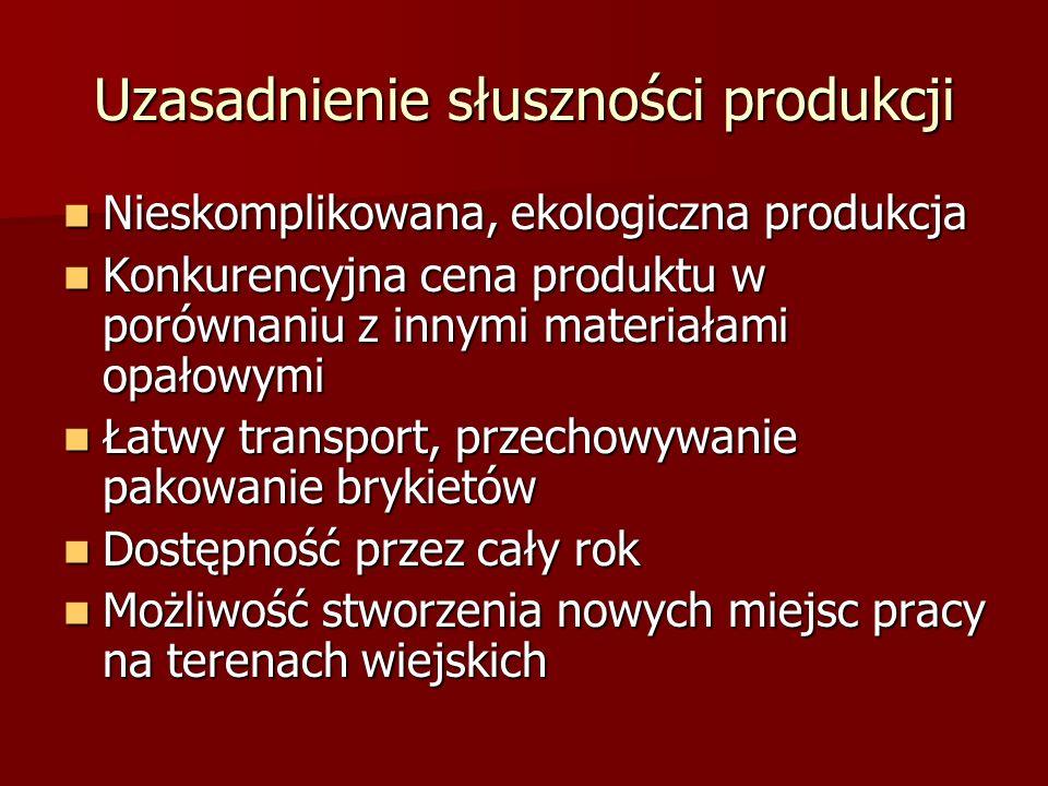 Uzasadnienie słuszności produkcji Nieskomplikowana, ekologiczna produkcja Nieskomplikowana, ekologiczna produkcja Konkurencyjna cena produktu w porównaniu z innymi materiałami opałowymi Konkurencyjna cena produktu w porównaniu z innymi materiałami opałowymi Łatwy transport, przechowywanie pakowanie brykietów Łatwy transport, przechowywanie pakowanie brykietów Dostępność przez cały rok Dostępność przez cały rok Możliwość stworzenia nowych miejsc pracy na terenach wiejskich Możliwość stworzenia nowych miejsc pracy na terenach wiejskich