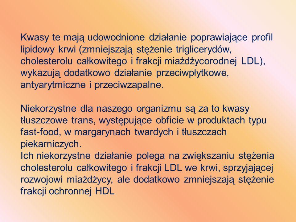 Kwasy te mają udowodnione działanie poprawiające profil lipidowy krwi (zmniejszają stężenie triglicerydów, cholesterolu całkowitego i frakcji miażdżyc