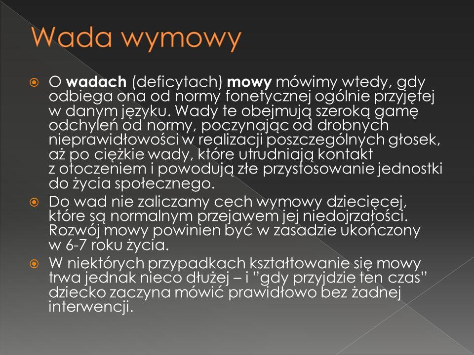  O wadach (deficytach) mowy mówimy wtedy, gdy odbiega ona od normy fonetycznej ogólnie przyjętej w danym języku. Wady te obejmują szeroką gamę odchyl