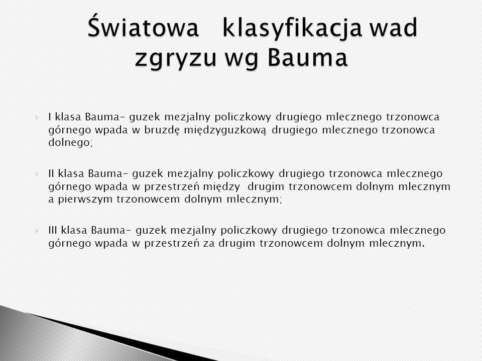  I klasa Bauma- guzek mezjalny policzkowy drugiego mlecznego trzonowca górnego wpada w bruzdę międzyguzkową drugiego mlecznego trzonowca dolnego;  I