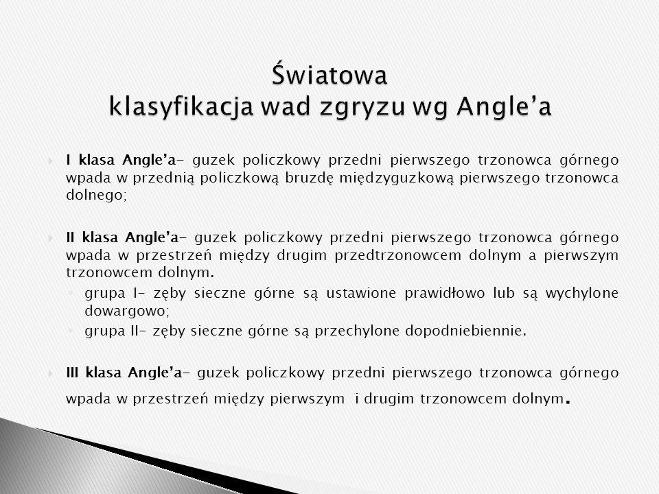  I klasa Angle'a- guzek policzkowy przedni pierwszego trzonowca górnego wpada w przednią policzkową bruzdę międzyguzkową pierwszego trzonowca dolnego