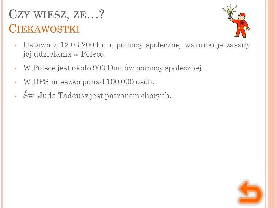 C ZY WIESZ, ŻE …? C IEKAWOSTKI Ustawa z 12.03.2004 r. o pomocy społecznej warunkuje zasady jej udzielania w Polsce. W Polsce jest około 900 Domów pomo
