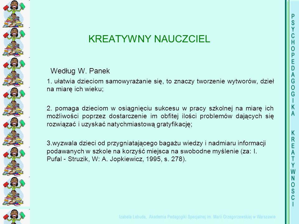 KREATYWNY NAUCZCIEL Według W. Panek 1.