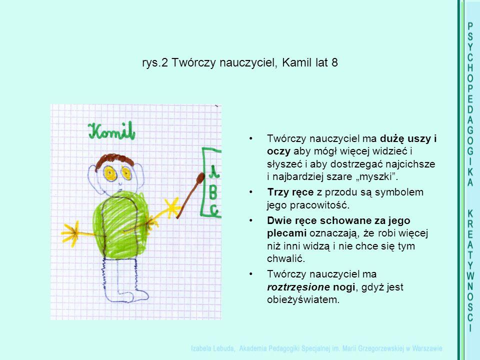 """rys.2 Twórczy nauczyciel, Kamil lat 8 Twórczy nauczyciel ma dużę uszy i oczy aby mógł więcej widzieć i słyszeć i aby dostrzegać najcichsze i najbardziej szare """"myszki ."""