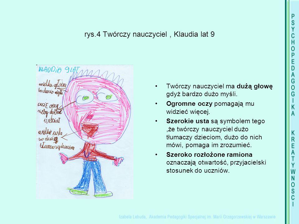 rys.4 Twórczy nauczyciel, Klaudia lat 9 Twórczy nauczyciel ma dużą głowę gdyż bardzo dużo myśli.