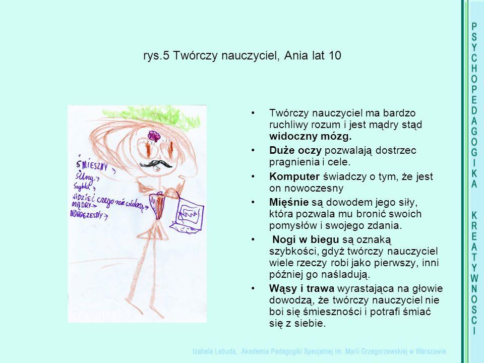rys.5 Twórczy nauczyciel, Ania lat 10 Twórczy nauczyciel ma bardzo ruchliwy rozum i jest mądry stąd widoczny mózg.