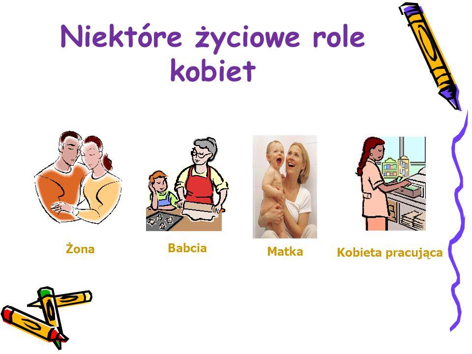 Niektóre życiowe role kobiet Kobieta pracująca Matka Babcia Żona