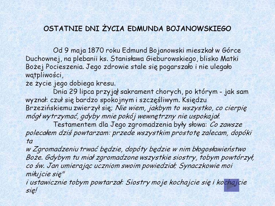 OSTATNIE DNI ŻYCIA EDMUNDA BOJANOWSKIEGO Od 9 maja 1870 roku Edmund Bojanowski mieszkał w Górce Duchownej, na plebanii ks.