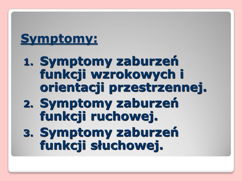 Symptomy: 1. Symptomy zaburzeń funkcji wzrokowych i orientacji przestrzennej.