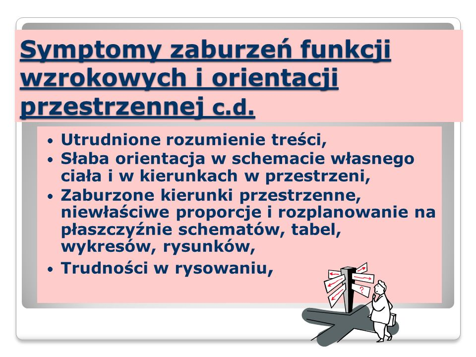Symptomy zaburzeń funkcji wzrokowych i orientacji przestrzennej c.d.
