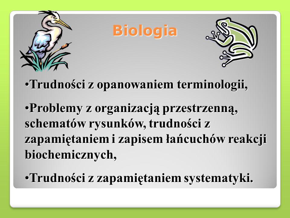 Biologia Trudności z opanowaniem terminologii,Trudności z opanowaniem terminologii, Problemy z organizacją przestrzenną, schematów rysunków, trudności z zapamiętaniem i zapisem łańcuchów reakcji biochemicznych,Problemy z organizacją przestrzenną, schematów rysunków, trudności z zapamiętaniem i zapisem łańcuchów reakcji biochemicznych, Trudności z zapamiętaniem systematyki.Trudności z zapamiętaniem systematyki.